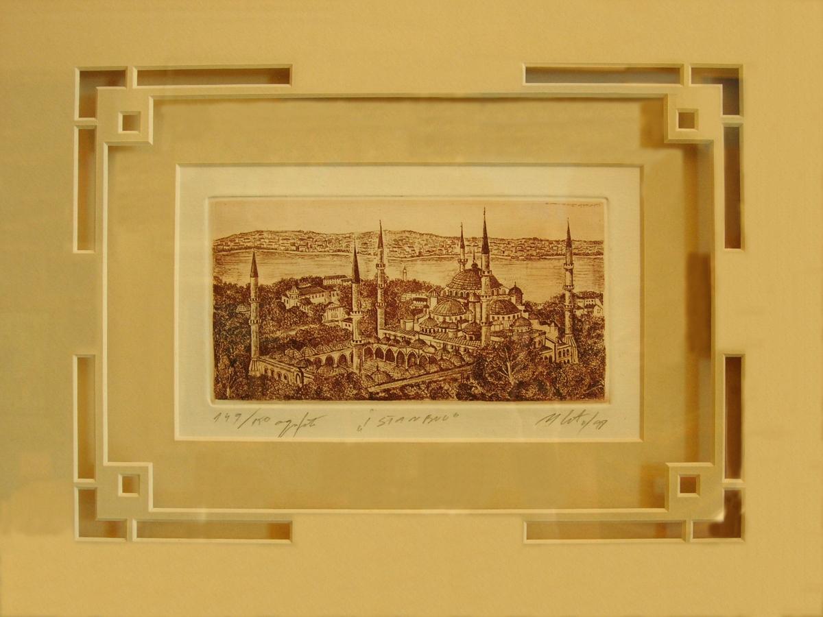 Isztanbul régi rézkarc látképének számítógép vezérelt dekoratív paszpartu ablakkal való díszítése.